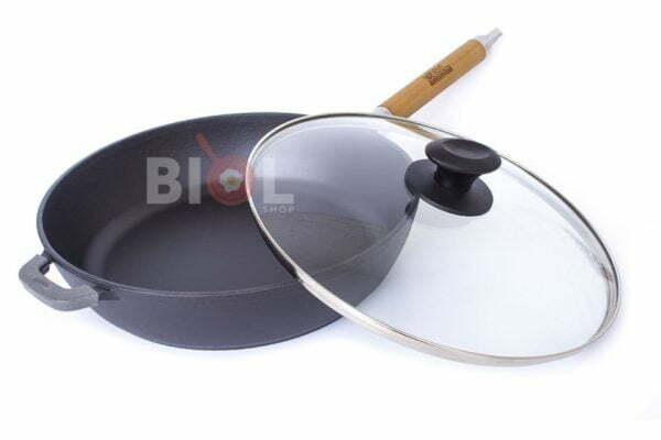 Сковорода чугун Биол матовое эмалированное покрытие с крышкой Классик