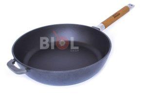Чугунная сковорода Биол матовая снаружи глянцевое покрытие 28 см 03285Е