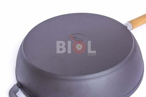 Сковорода чугун Классик Биол матовое эмалированное покрытие с крышкой
