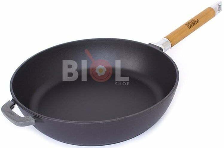 Сковорода чугун Биол матовое эмалированное покрытие с крышкой 28 см 0328ЕС купить в Киеве