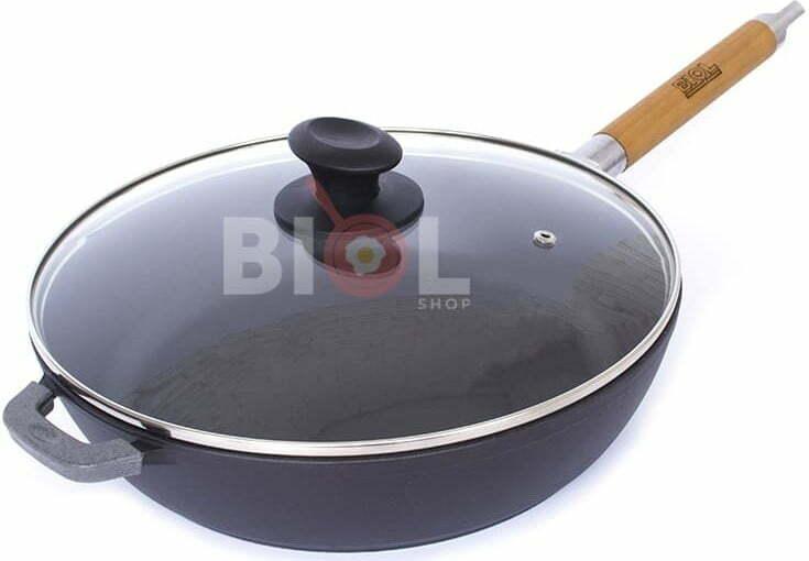 Сковорода чугун Биол матовое эмалированное покрытие с крышкой 28 см 0328ЕС купить недорого онлайн