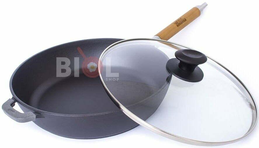 Сковорода чугун Биол матовое эмалированное покрытие с крышкой 28 см 0328ЕС характеристика и фото