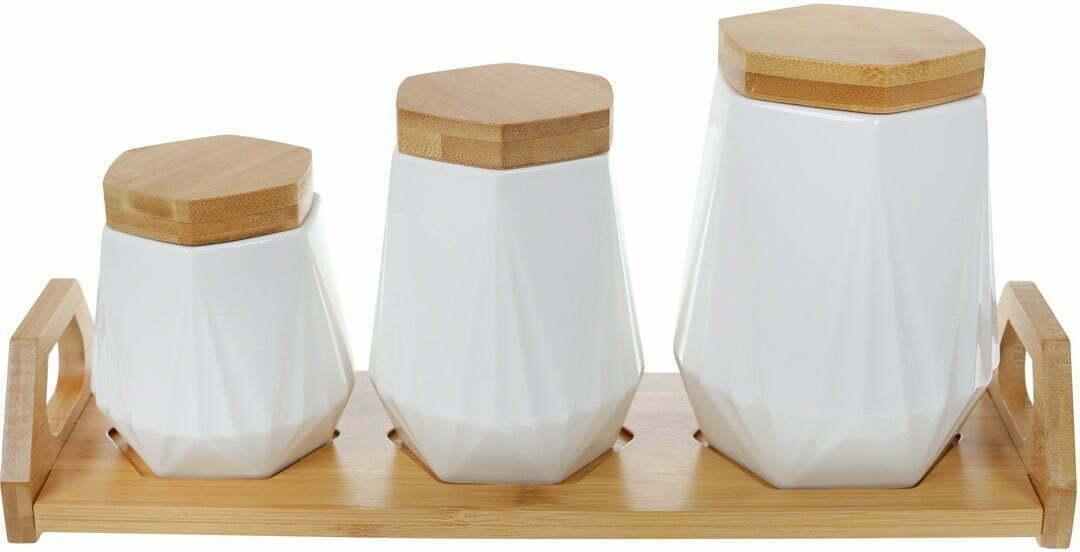 Набор банок BonaDi для сыпучих продуктов Naturel на подставке 289-349 купить недорого онлайн
