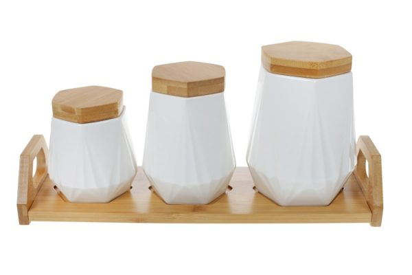 Набор банок BonaDi для сыпучих продуктов Naturel на подставке 289-349