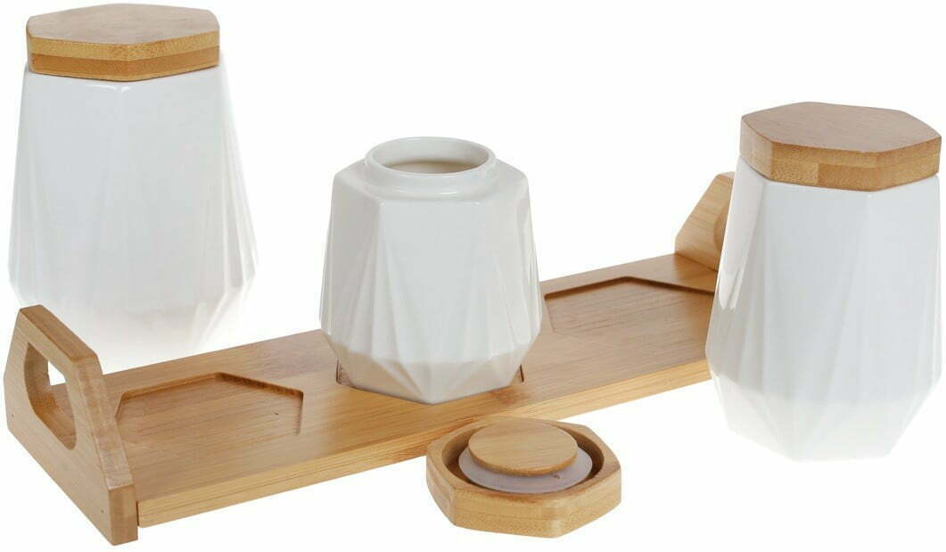 Набор банок BonaDi для сыпучих продуктов Naturel на подставке 289-349 заказать в интернет магазине