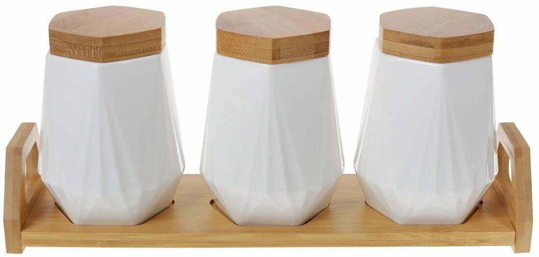 Набор банок 450 мл BonaDi Naturel на бамбуковой подставке 289-352 купить недорого онлайн