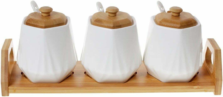 Набор банок 330 мл с ложками на подставке BonaDi Naturel 289-357 купить недорого онлайн