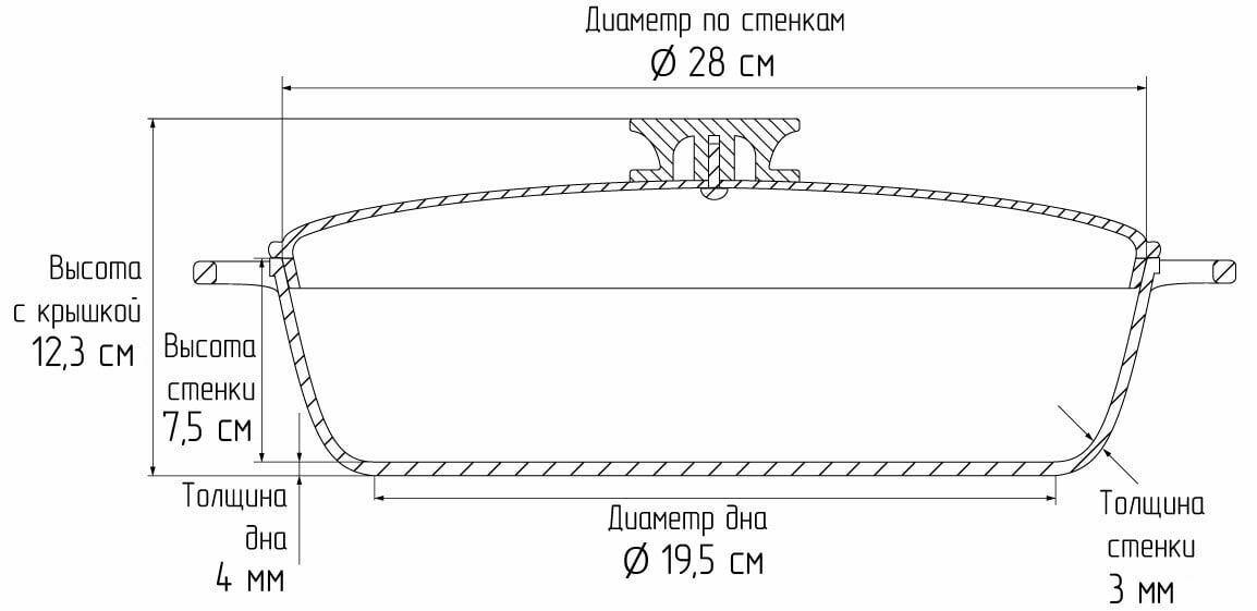 Алюминиевая сковорода Биол с ровным дном и крышкой 28 см А284 схема