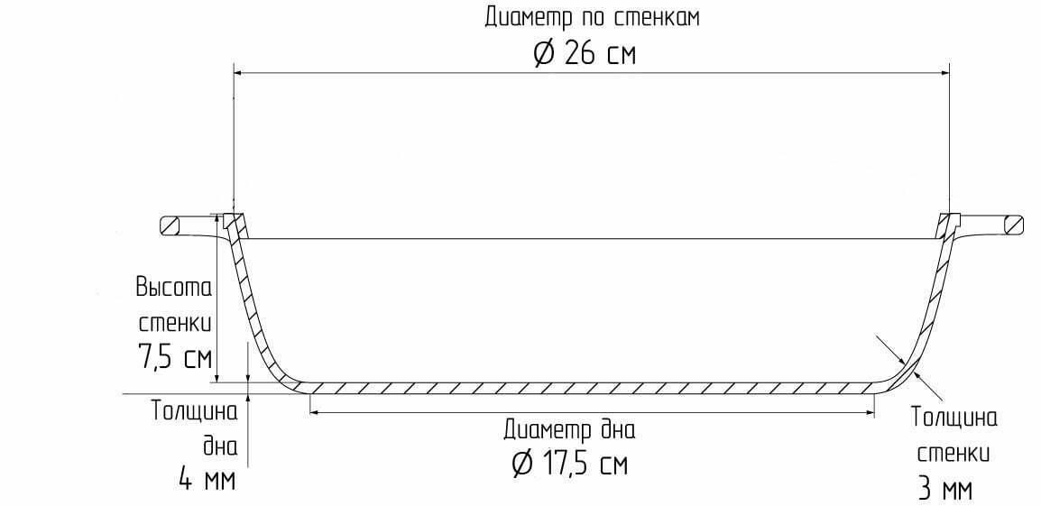 Жаровня с ровным дном без крышки Биол 26 см С264