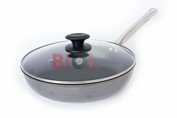 Сковорода антипригарная Profi со стеклянной крышкой Биол 24 см 2413НЛ