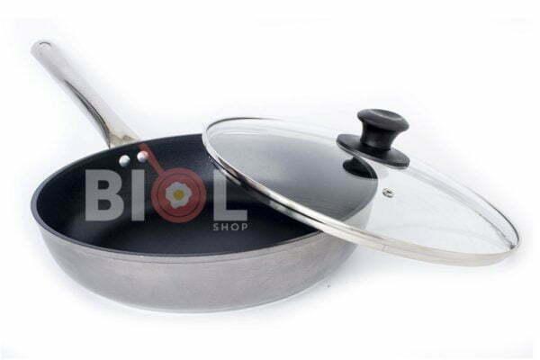 Сковорода антипригарная Profi со стеклянной крышкой Биол 240 мм