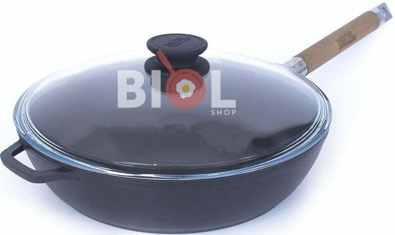 Эмалированная чугунная сковорода 24 см со стеклянной крышкой 0324ЕС купить недорого онлайн