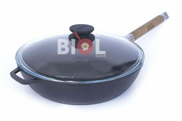 Эмалированная чугунная сковорода 24 см со стеклянной крышкой 0324ЕС