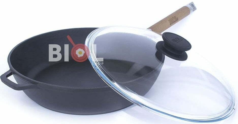 Эмалированная чугунная сковорода 24 см со стеклянной крышкой 0324ЕС отзывы и фото