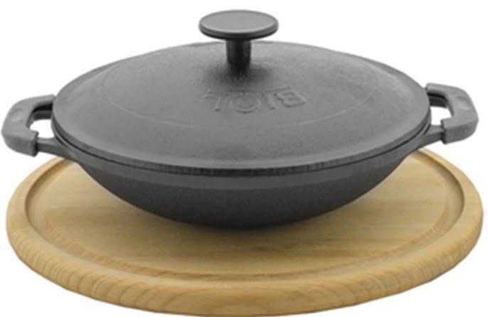 Сковорода 800 мл WOK порционная с крышкой и деревянной подставкой Биол 1814КД купить в Украине