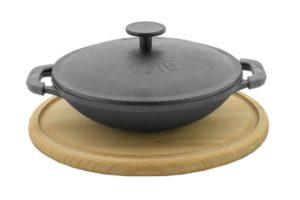 Сковорода эмалированная WOK порционная с крышкой и деревянной подставкой Биол заказать