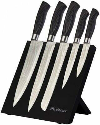 Набор ножей с магнитной подставкой Vincent Damask VC-6209 купить недорого онлайн