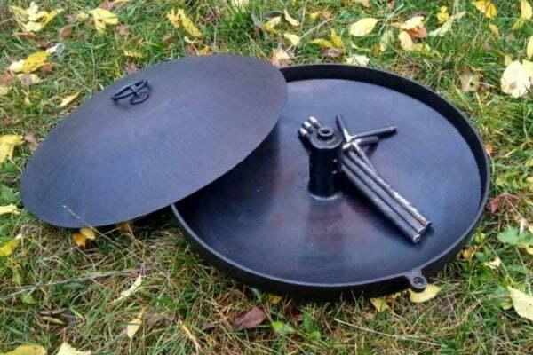 Сковорода для костра с отверстием 400 мм низкая цена на сайте