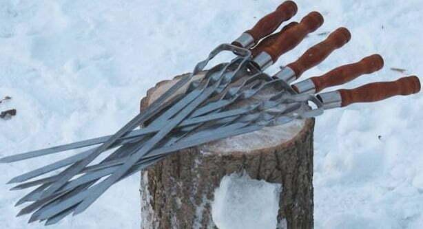 Шампур двойной с деревянной ручкой Shop pan 630х12х3 мм Ш04 купить недорого оноайн