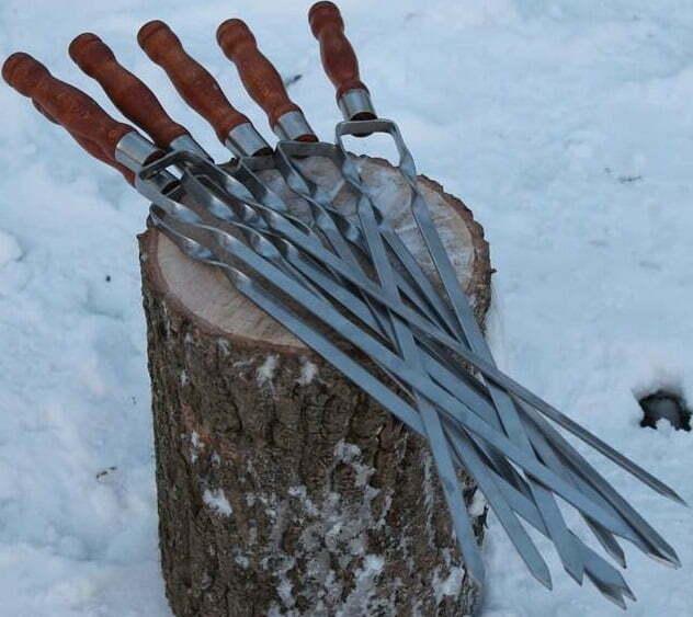 Шампур двойной с деревянной ручкой Shop pan 630х12х3 мм Ш04 низкая цена