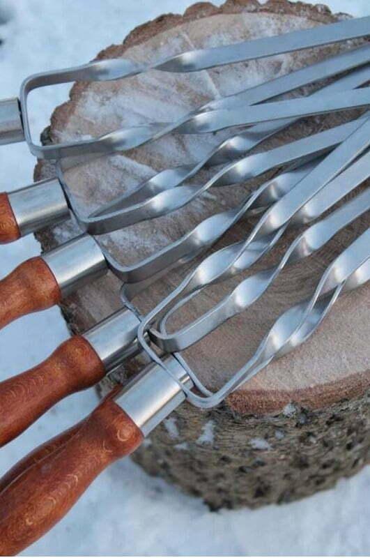 Шампур двойной с деревянной ручкой Shop pan 630х12х3 мм Ш04 купить в Киеве
