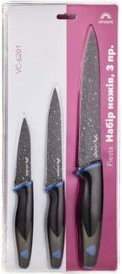 Набор ножей из 3 предметов Vincent покрытия non-stick Fiesta VC-6201 купить недорого онлайн