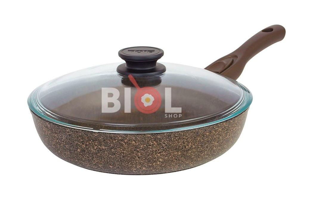 2. Тефлоновая сковорода 24 см Гранит-Браун с крышкой Биол 24133ПС