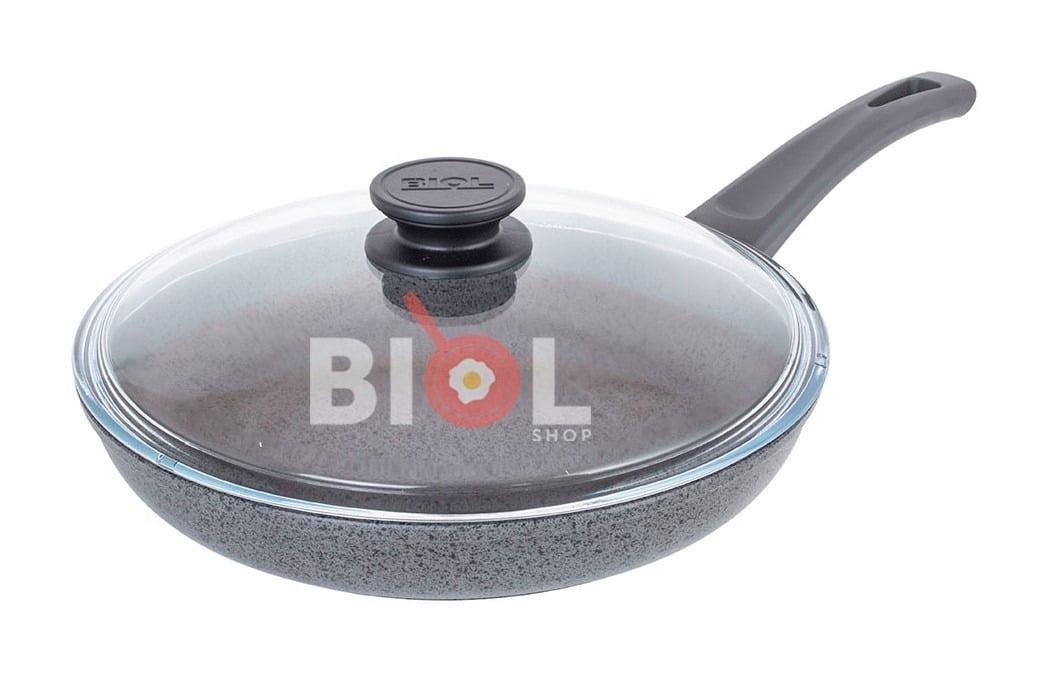 4. Антипригарная сковорода 28 см со стеклянной крышкой Оптима-Гранит Биол 28048ПС
