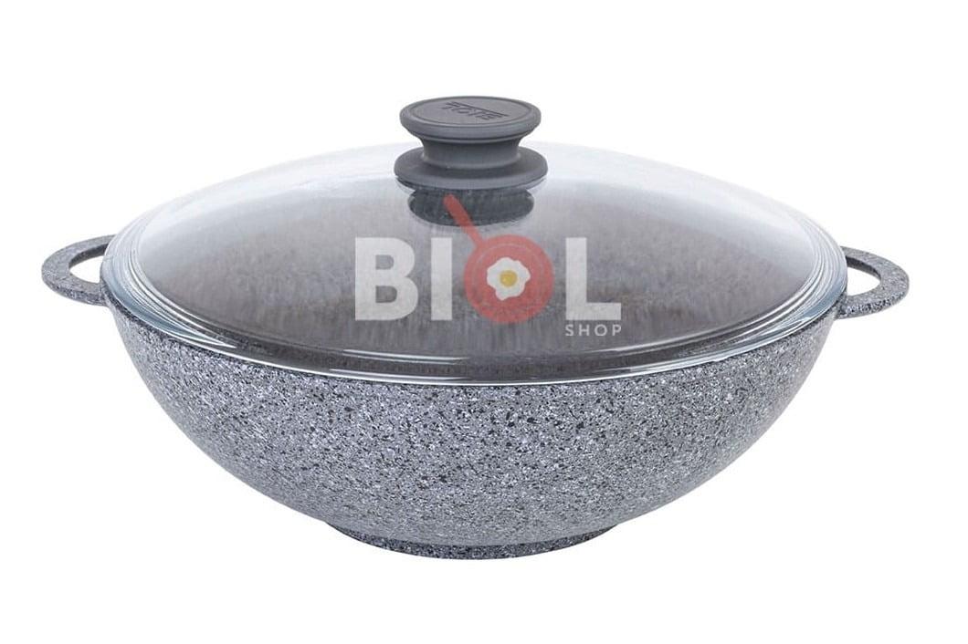 Сковорода Wok Биол Гранит грей антипригарная с крышкой 30 см