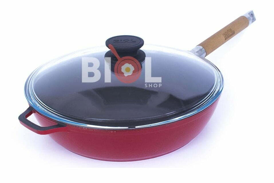 1. Сковорода 28 см чугунная с крышкой и эмалированным покрытием Биол 03283ЕС