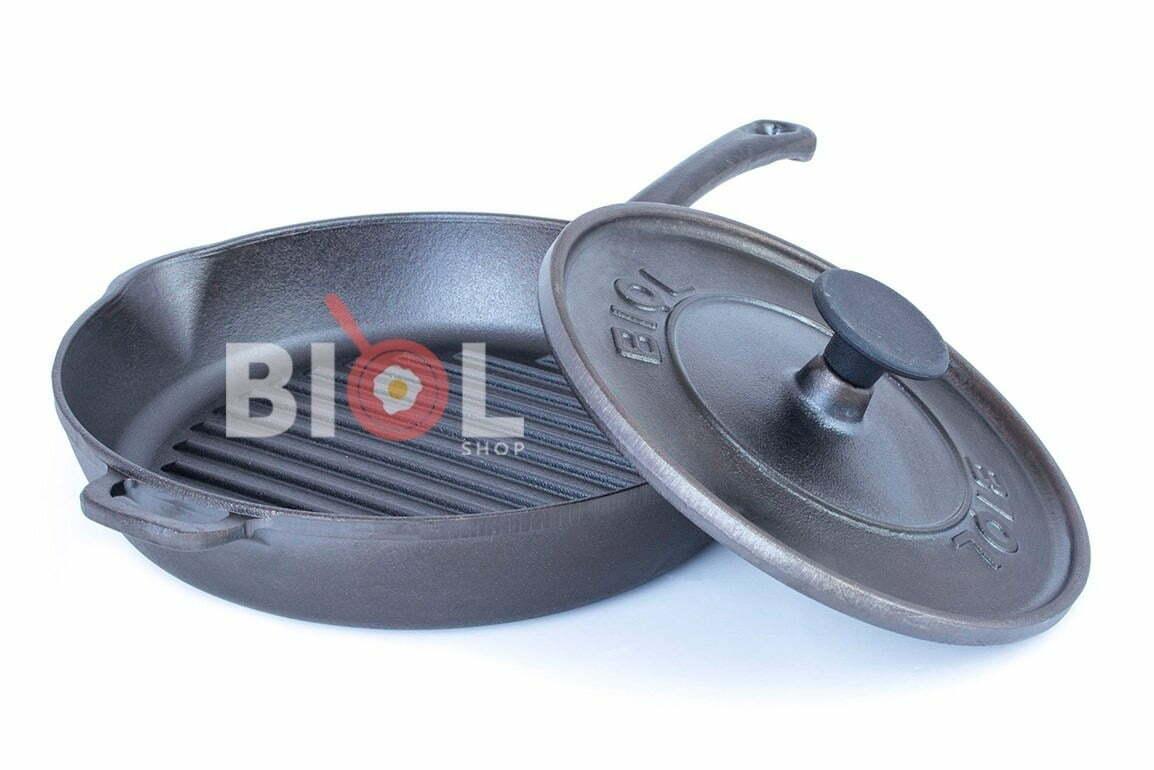 4. Сковорода гриль чугунная с крышкой прессом 28 см Биол 11281