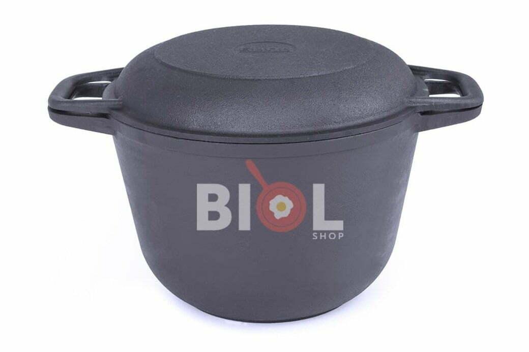 3. Чугунная кастрюля с крышкой-сковородой Биол 4 л 0204