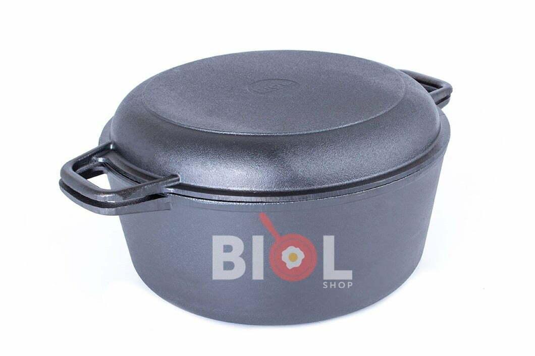 7. Чугунная кастрюля с крышкой-сковородой Биол 5 л 08051