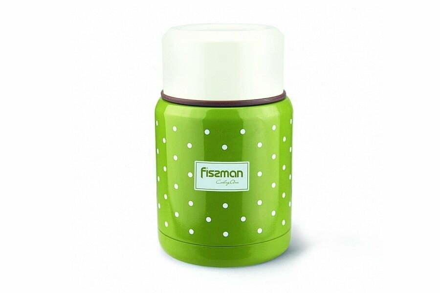 8. Термос для еды из нержавеющей стали Fissman оливковый 350 мл VA-9667.350