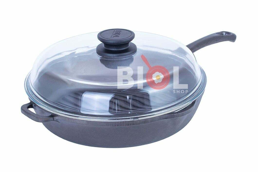 5. Чугунная сковорода-гриль круглая Биол со стеклянной крышкой 28 см