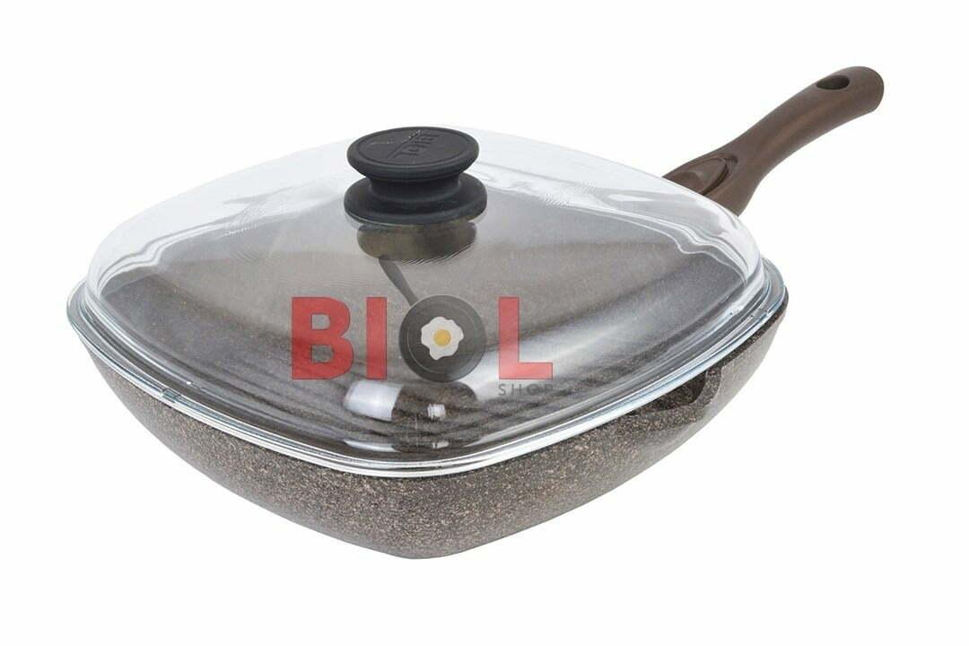 3. Антипригарная сковорода-гриль 26 см Гранит-Браун Биол