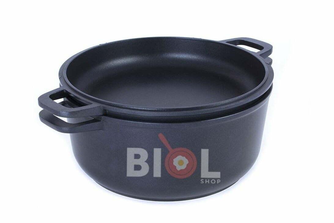 2. Кастрюля алюминиевая Биол с крышкой-сковородой 5 л