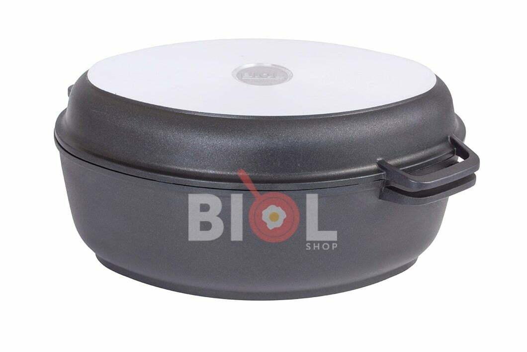 3. Гусятница Биол алюминиевая с крышкой-сковородой гриль 4 л